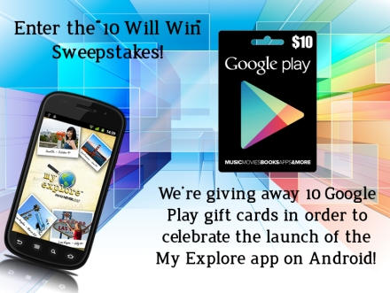 "Enter the ""10 Will Win"" Sweeps to win a Google Play gift card!"