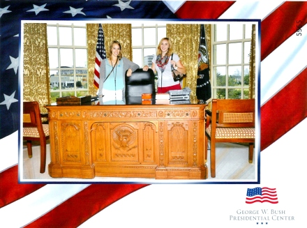 Elizabeth and I inside the Oval Office replica