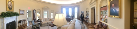 Panoramic view of the Oval Office replica