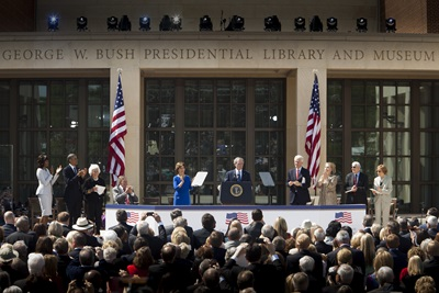 The dedication of the George W. Bush Presidential Center on April 25, 2013 - photo courtesy of smu.edu