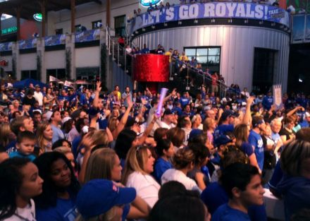 Royals fans gathered in the Power & Light District in downtown Kansas City on Monday. (Photo: Al Saracevic/The Chronicle via SF Gate)